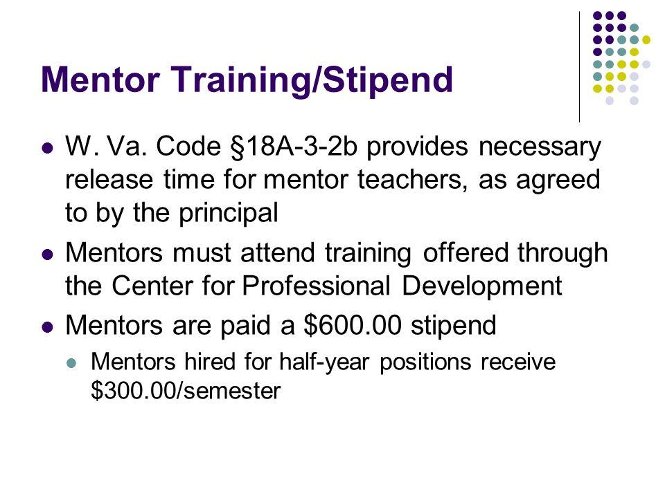 Mentor Training/Stipend W. Va.