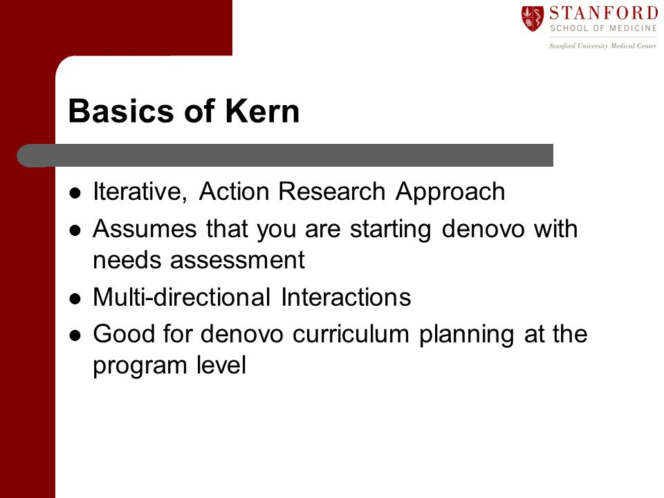 Basics of Kern Iterative, Action Research Approach Assumes that you are starting denovo with needs assessment Multi-directional Interactions Good for denovo curriculum planning at the program level