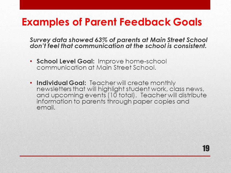 Examples of Parent Feedback Goals Survey data showed 63% of parents at Main Street School don't feel that communication at the school is consistent. S