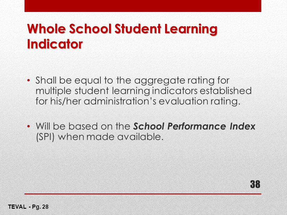 Whole School Student Learning Indicator Shall be equal to the aggregate rating for multiple student learning indicators established for his/her admini