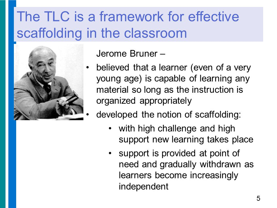 Effective scaffolding Effective scaffolding requires that: the teacher has a specific aim for the student to achieve: a 'finite goal'.