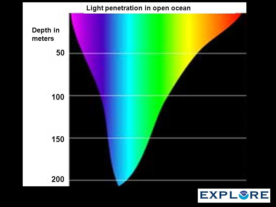 Light penetration in open ocean Depth in meters 50 100 200 150