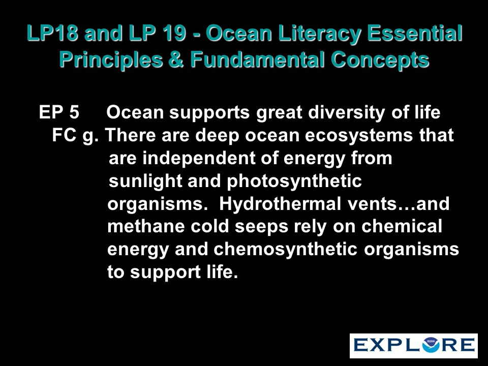 LP18 and LP 19 - Ocean Literacy Essential Principles & Fundamental Concepts EP 5 Ocean supports great diversity of life FC g. There are deep ocean eco
