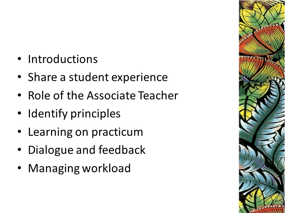 Introductions Share a student experience Role of the Associate Teacher Identify principles Learning on practicum Dialogue and feedback Managing workload