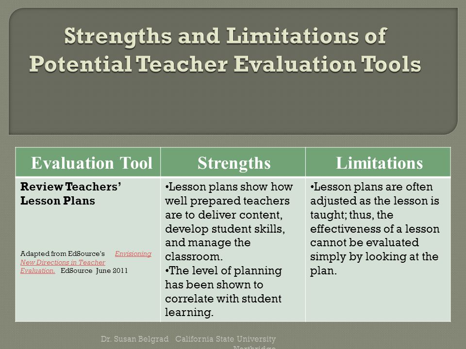 Evaluation ToolStrengthsLimitations Review Teachers' Lesson Plans Adapted from EdSource s Envisioning New Directions in Teacher Evaluation.