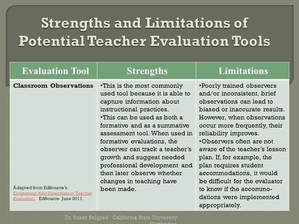 Evaluation ToolStrengths Limitations Classroom Observations Adapted from EdSource s Envisioning New Directions in Teacher Evaluation.