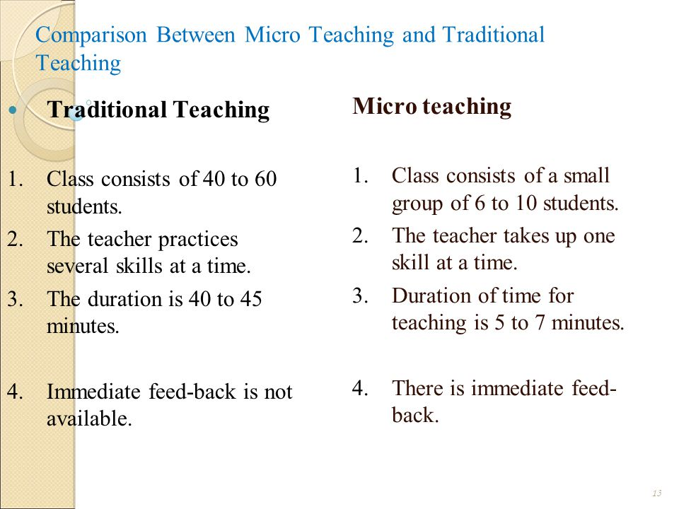 Comparison Between Micro Teaching and Traditional Teaching Micro teaching 1.Class consists of a small group of 6 to 10 students.