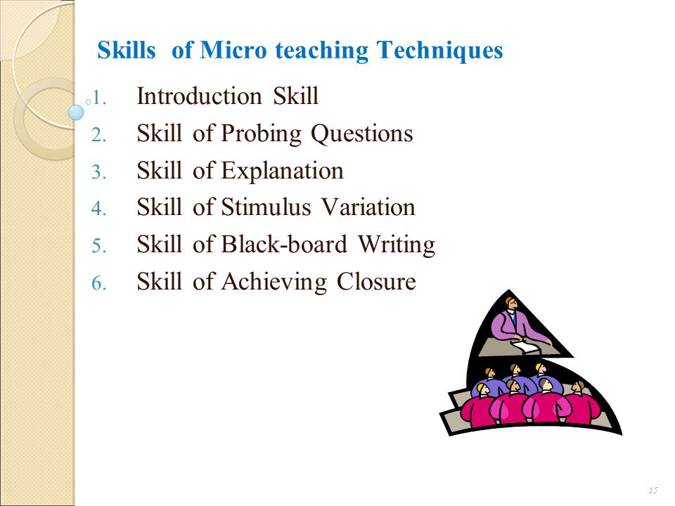 Skills of Micro teaching Techniques 1.Introduction Skill 2.