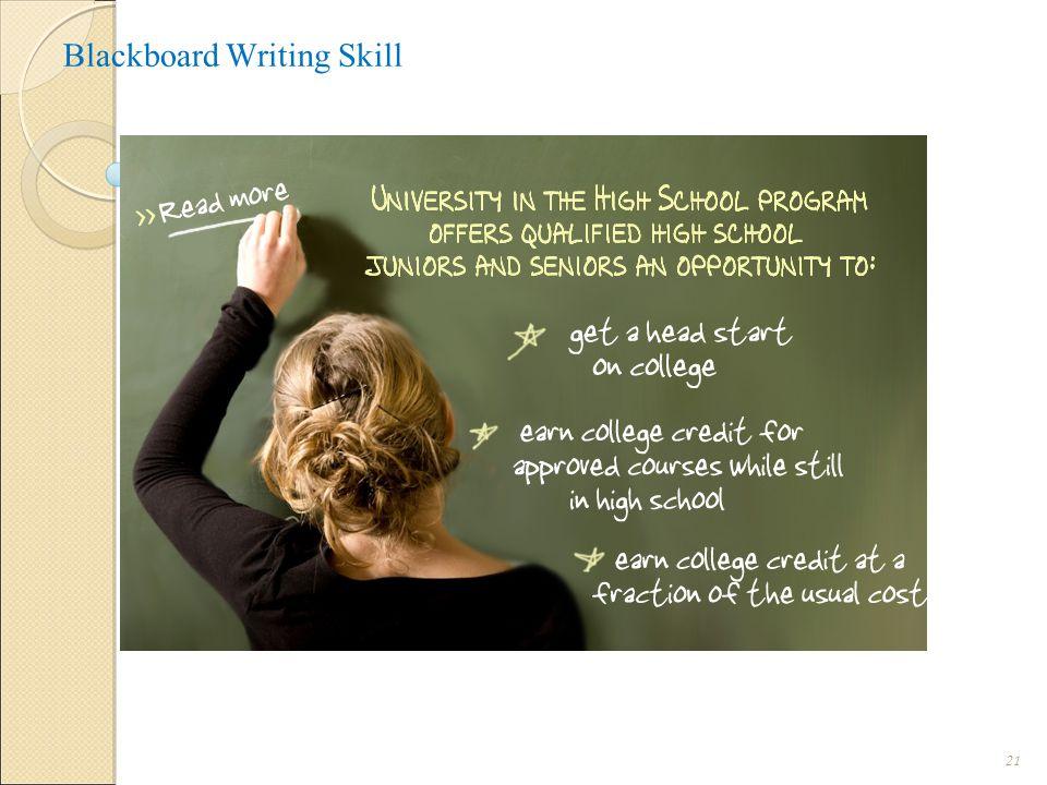 Blackboard Writing Skill i.Legibility ( Easy to read ): A legible handwritin 21