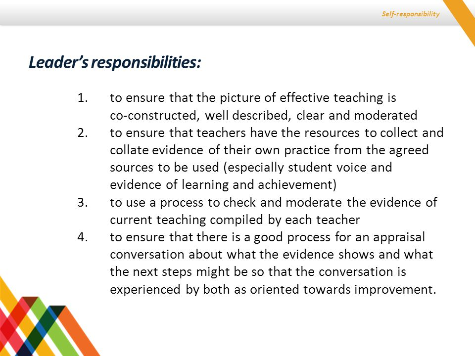 Self-responsibility 1.to ensure that the picture of effective teaching is co-constructed, well described, clear and moderated 2.to ensure that teacher