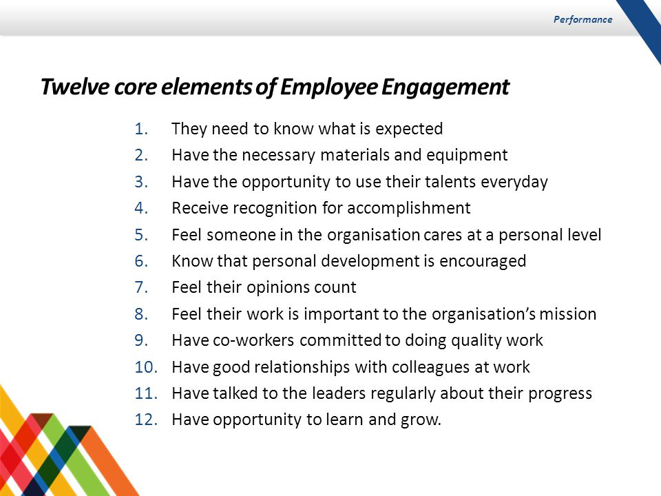 Performance Twelve core elements of Employee Engagement 1.They need to know what is expected 2.Have the necessary materials and equipment 3.Have the opportunity to use their talents everyday 4.Receive recognition for accomplishment 5.Feel someone in the organisation cares at a personal level 6.Know that personal development is encouraged 7.Feel their opinions count 8.Feel their work is important to the organisation's mission 9.Have co-workers committed to doing quality work 10.Have good relationships with colleagues at work 11.Have talked to the leaders regularly about their progress 12.Have opportunity to learn and grow.