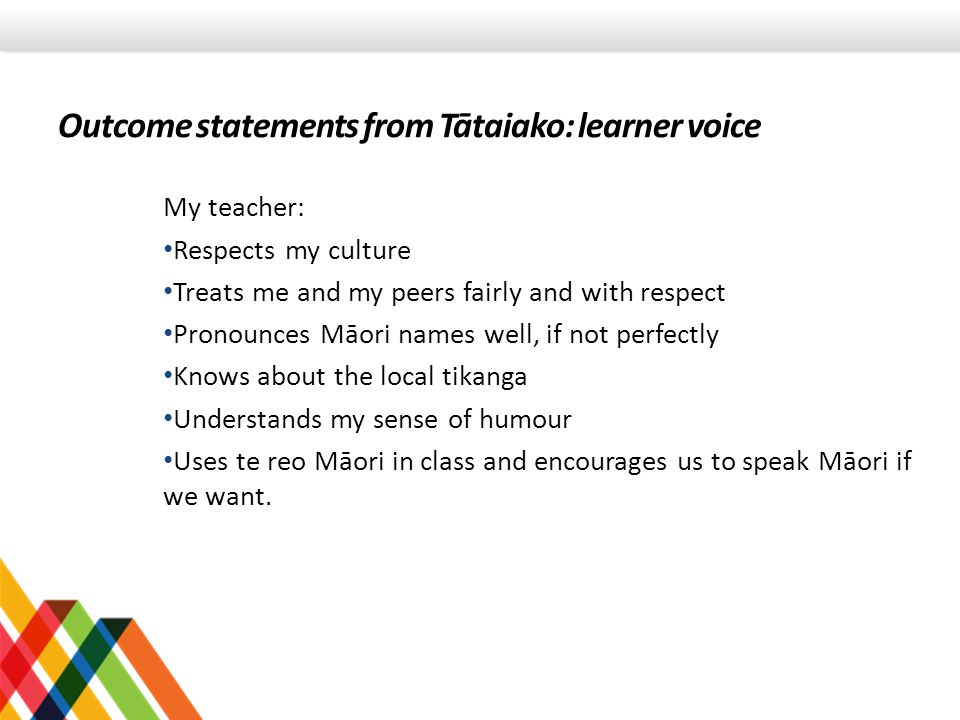 Outcome statements from Tātaiako: learner voice My teacher: Respects my culture Treats me and my peers fairly and with respect Pronounces Māori names well, if not perfectly Knows about the local tikanga Understands my sense of humour Uses te reo Māori in class and encourages us to speak Māori if we want.