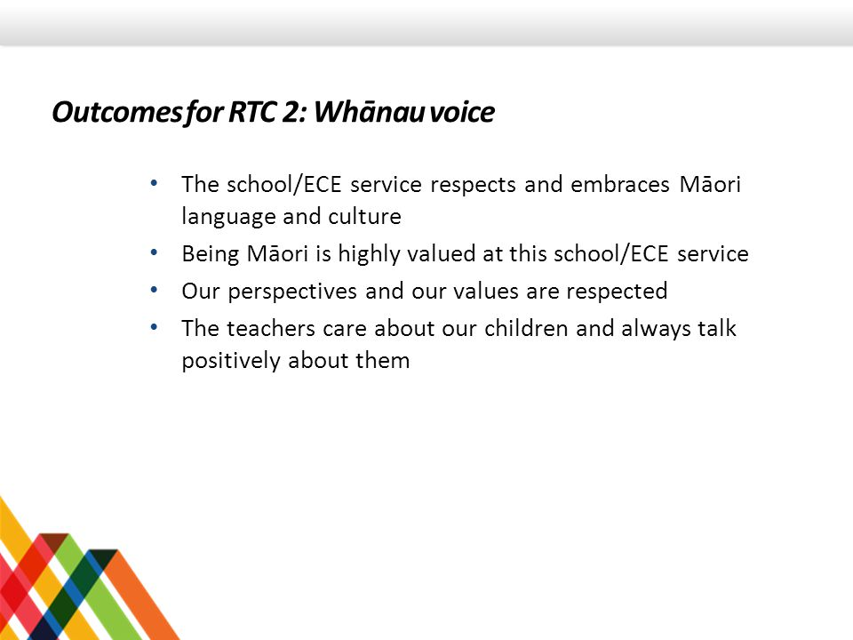 Outcomes for RTC 2: Whānau voice The school/ECE service respects and embraces Māori language and culture Being Māori is highly valued at this school/E