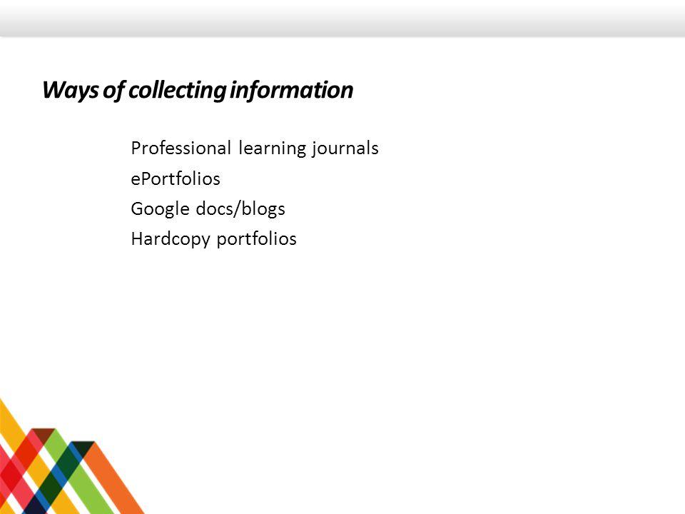 Professional learning journals ePortfolios Google docs/blogs Hardcopy portfolios Ways of collecting information