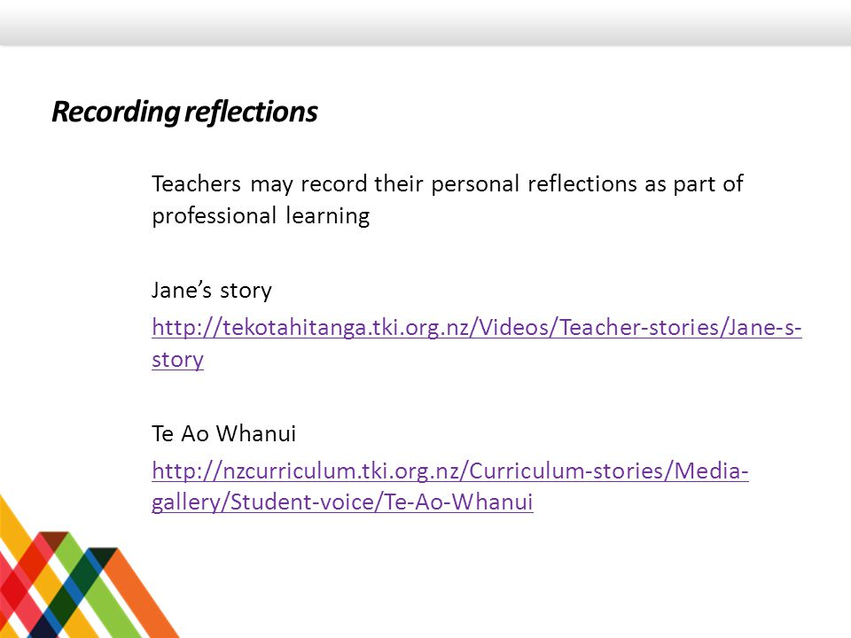 Teachers may record their personal reflections as part of professional learning Jane's story http://tekotahitanga.tki.org.nz/Videos/Teacher-stories/Jane-s- story Te Ao Whanui http://nzcurriculum.tki.org.nz/Curriculum-stories/Media- gallery/Student-voice/Te-Ao-Whanui Recording reflections