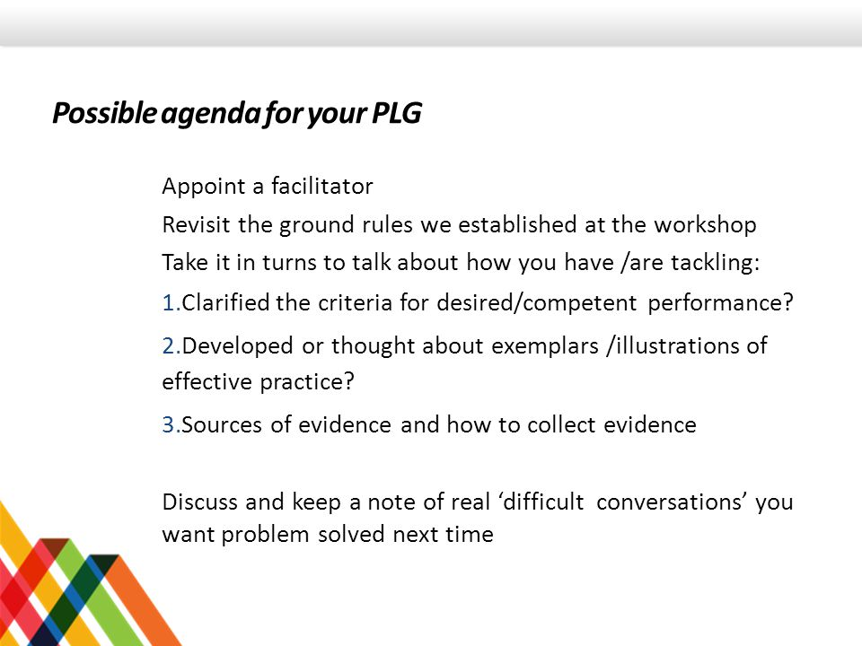 Possible agenda for your PLG Appoint a facilitator Revisit the ground rules we established at the workshop Take it in turns to talk about how you have /are tackling: 1.Clarified the criteria for desired/competent performance.