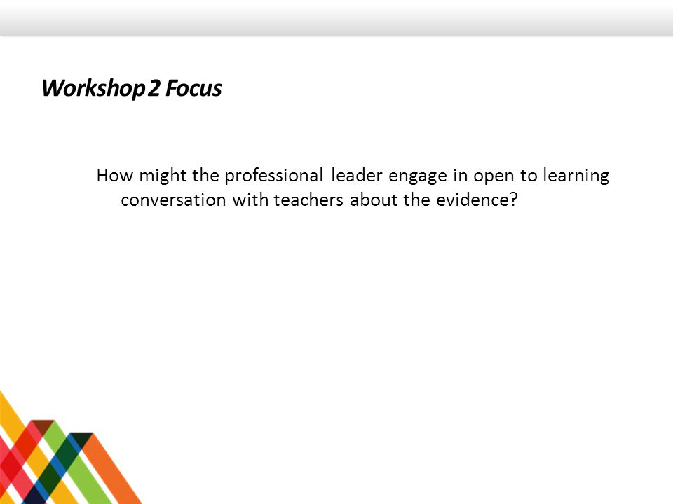 Workshop 2 Focus How might the professional leader engage in open to learning conversation with teachers about the evidence