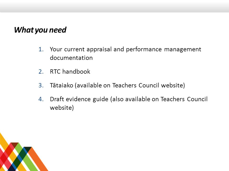 What you need 1.Your current appraisal and performance management documentation 2.RTC handbook 3.Tātaiako (available on Teachers Council website) 4.Draft evidence guide (also available on Teachers Council website)