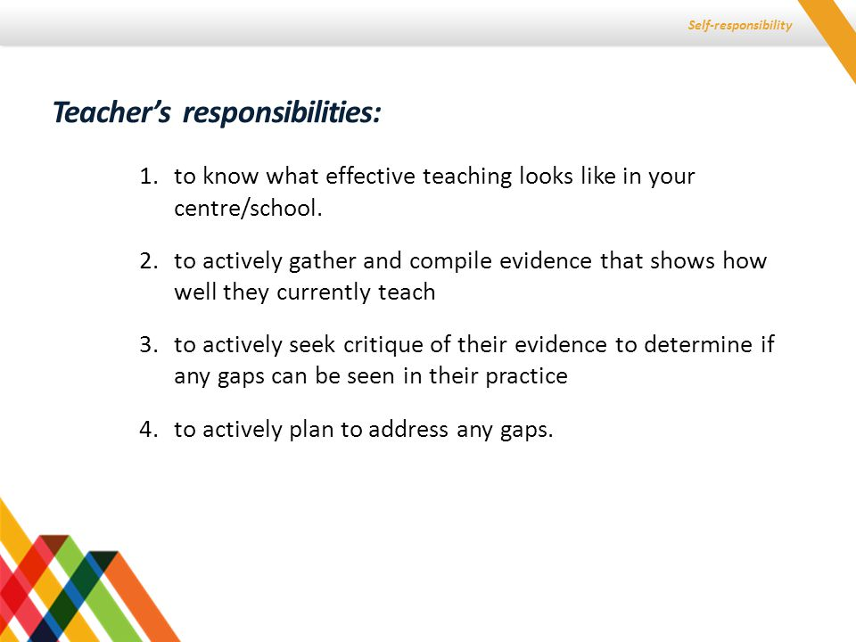 Self-responsibility 1.to ensure that the picture of effective teaching is co-constructed, well described, clear and moderated 2.to ensure that teachers have the resources to collect and collate evidence of their own practice from the agreed sources to be used (especially student voice and evidence of learning and achievement) 3.to use a process to check and moderate the evidence of current teaching compiled by each teacher 4.to ensure that there is a good process for an appraisal conversation about what the evidence shows and what the next steps might be so that the conversation is experienced by both as oriented towards improvement.