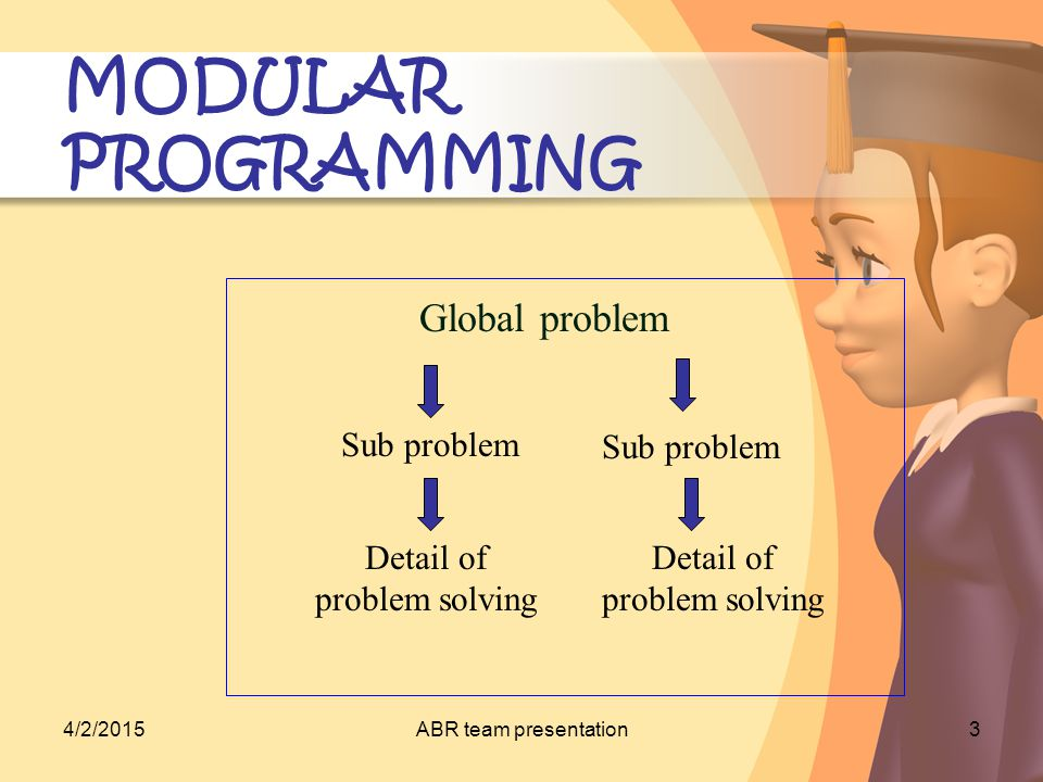 4/2/2015ABR team presentation4 MODULAR PROGRAMMING In algorithm –Procedure, Function, and Block Do not need to know how the procedure can geared to the result Need full address to achieve the goal Global Algorithm: Modul [] Modul [] ….