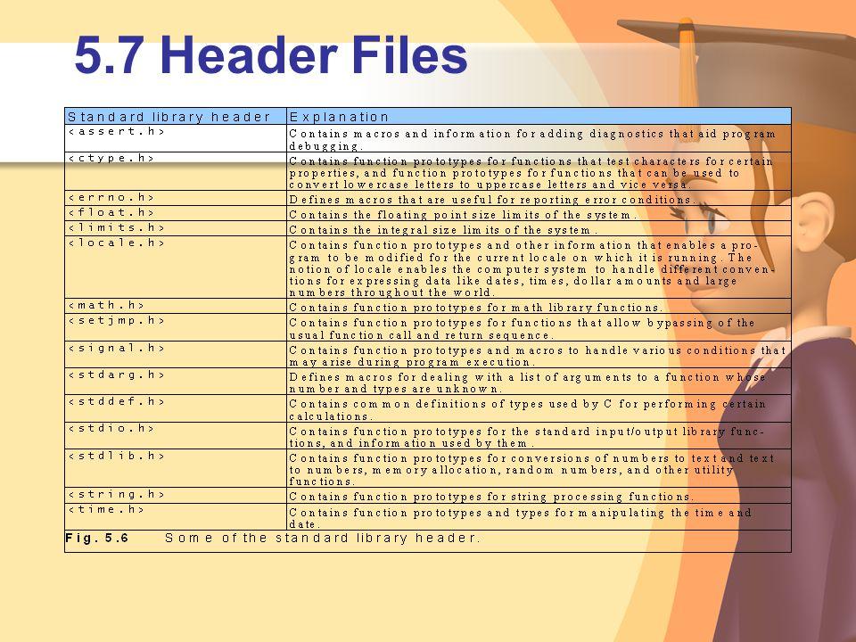 5.7Header Files
