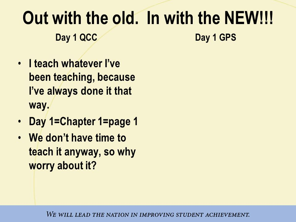 I teach whatever I've been teaching, because I've always done it that way. Day 1=Chapter 1=page 1 We don't have time to teach it anyway, so why worry