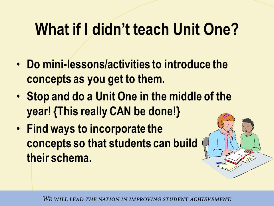 What if I didn't teach Unit One? Do mini-lessons/activities to introduce the concepts as you get to them. Stop and do a Unit One in the middle of the