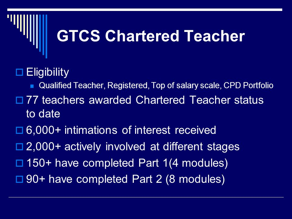 GTCS Chartered Teacher  Eligibility Qualified Teacher, Registered, Top of salary scale, CPD Portfolio  77 teachers awarded Chartered Teacher status to date  6,000+ intimations of interest received  2,000+ actively involved at different stages  150+ have completed Part 1(4 modules)  90+ have completed Part 2 (8 modules)