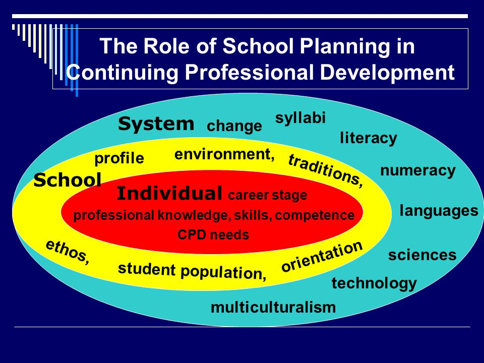 pending change, emerging needs Individual career stage professional knowledge, skills, competence CPD needs profile System The Role of School Planning in Continuing Professional Development student population, orientation traditions, School environment, ethos, syllabi change literacy numeracy multiculturalism technology sciences languages