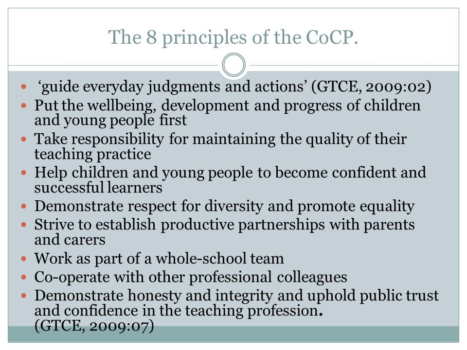 The 8 principles of the CoCP.