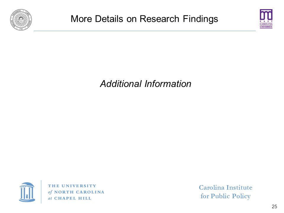 Carolina Institute for Public Policy More Details on Research Findings Additional Information 25