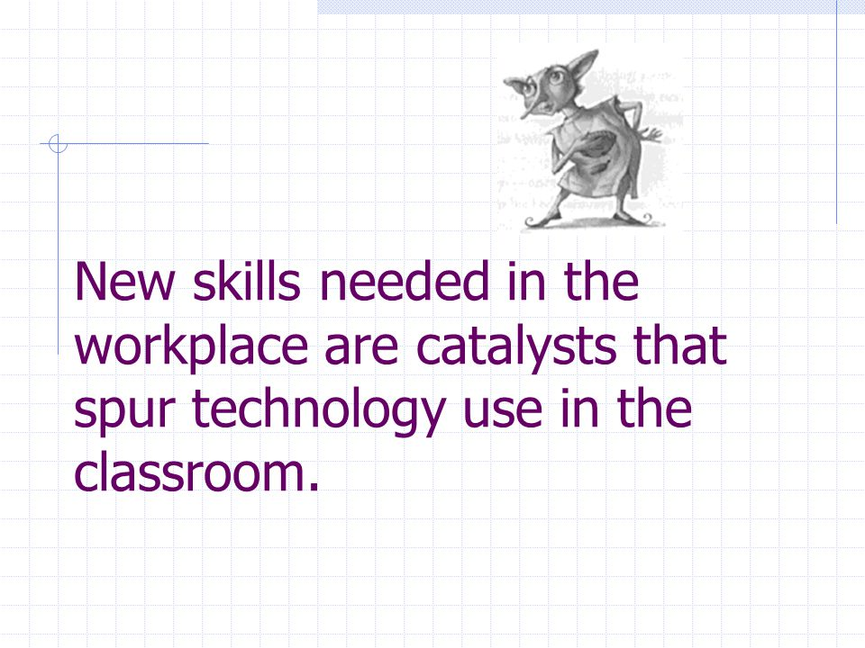 New skills needed in the workplace are catalysts that spur technology use in the classroom.