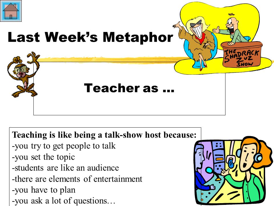 Last Week's Metaphor Teacher as … Teaching is like being a talk-show host because: -you try to get people to talk -you set the topic -students are like an audience -there are elements of entertainment -you have to plan -you ask a lot of questions…
