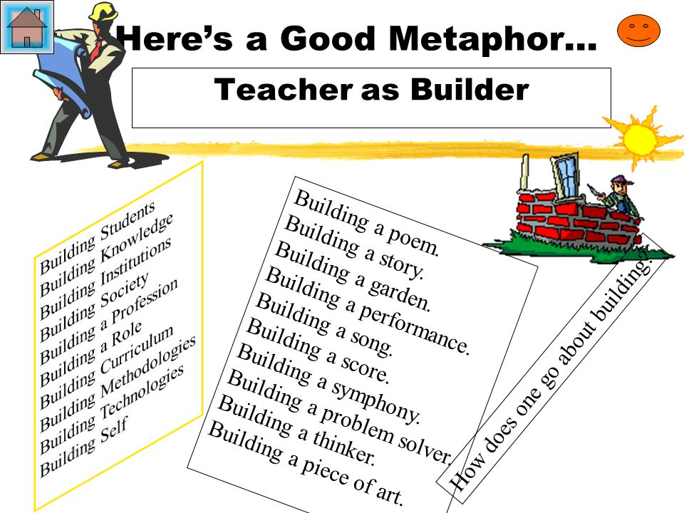 Here's a Good Metaphor… Teacher as Builder How does one go about building.