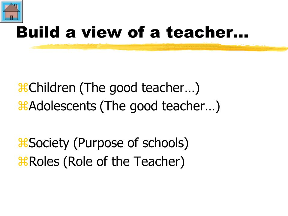 Build a view of a teacher… zCzChildren (The good teacher…) zAzAdolescents (The good teacher…) zSzSociety (Purpose of schools) zRzRoles (Role of the Teacher)