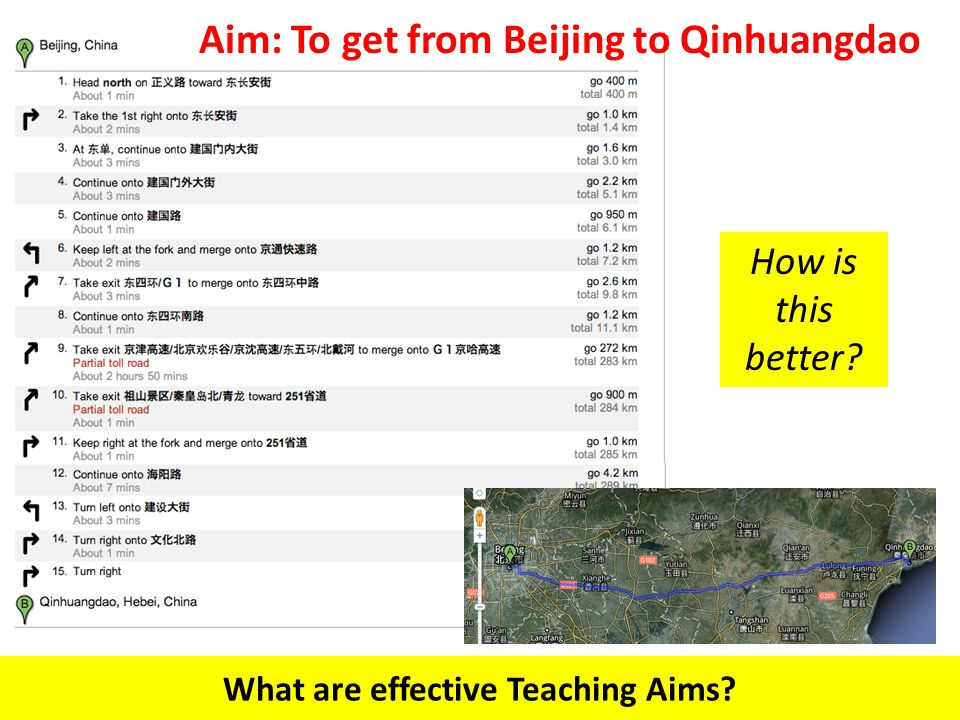 What are effective Teaching Aims How is this better Aim: To get from Beijing to Qinhuangdao