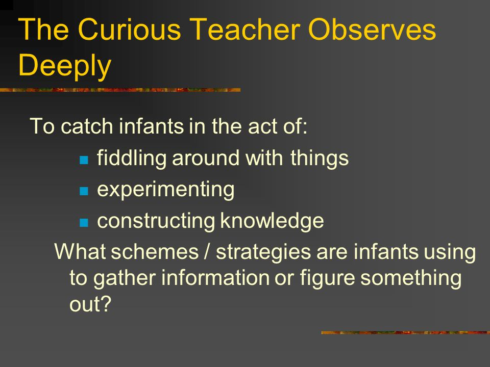 The Curious Teacher Observes Deeply To catch infants in the act of: fiddling around with things experimenting constructing knowledge What schemes / strategies are infants using to gather information or figure something out?