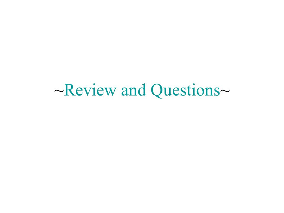 ~Review and Questions~