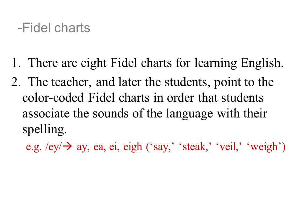 -Fidel charts 1. There are eight Fidel charts for learning English. 2. The teacher, and later the students, point to the color-coded Fidel charts in o