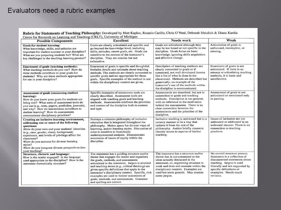 Evaluators need a rubric examples