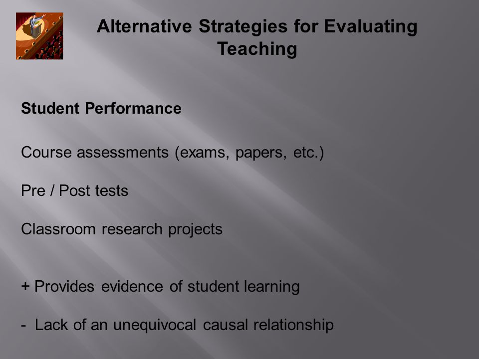 Alternative Strategies for Evaluating Teaching Student Performance Course assessments (exams, papers, etc.) Pre / Post tests Classroom research projec