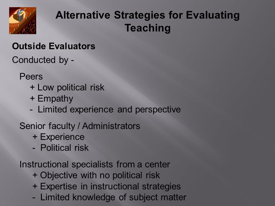 Alternative Strategies for Evaluating Teaching Outside Evaluators Conducted by - Peers + Low political risk + Empathy - Limited experience and perspec