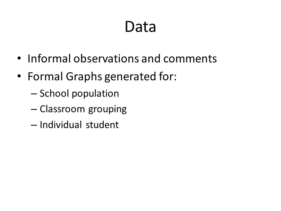Data Informal observations and comments Formal Graphs generated for: – School population – Classroom grouping – Individual student