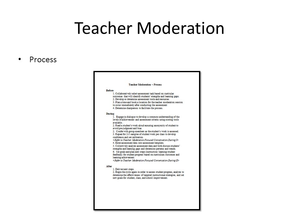 Teacher Moderation Process