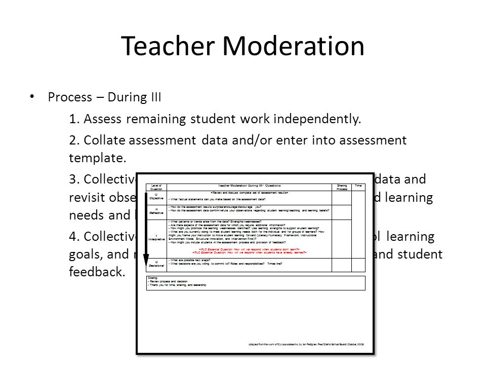 Teacher Moderation Process – During III 1. Assess remaining student work independently.