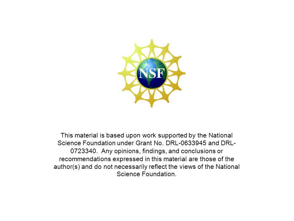 This material is based upon work supported by the National Science Foundation under Grant No.