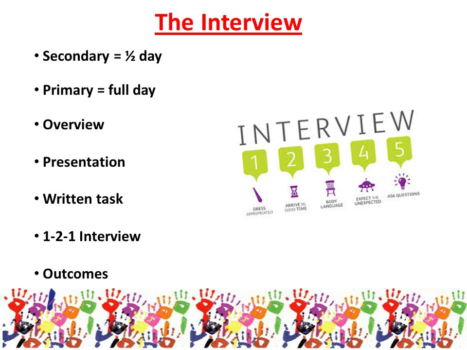 The Interview Secondary = ½ day Primary = full day Overview Presentation Written task 1-2-1 Interview Outcomes