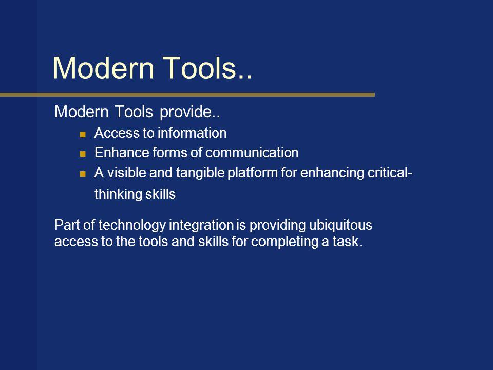 Modern Tools.. Modern Tools provide..