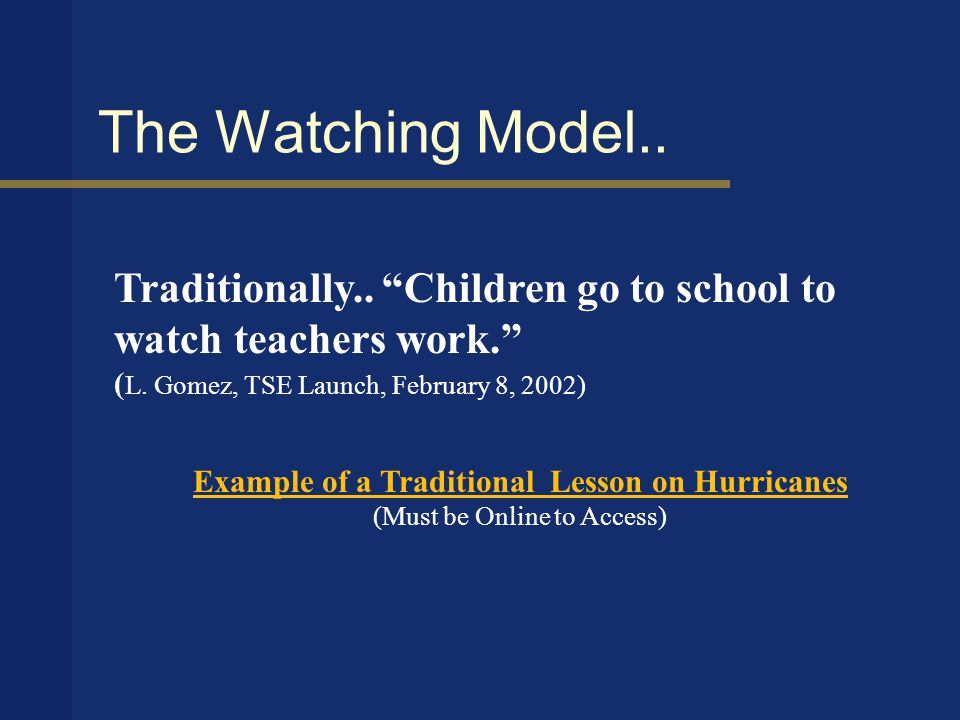 Moving Past Watching..Technology Integration is moving beyond the watching model of education.