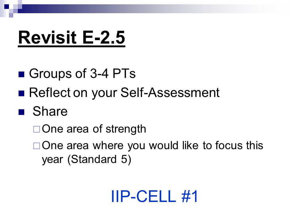 Revisit E-2.5 Groups of 3-4 PTs Reflect on your Self-Assessment Share  One area of strength  One area where you would like to focus this year (Stand